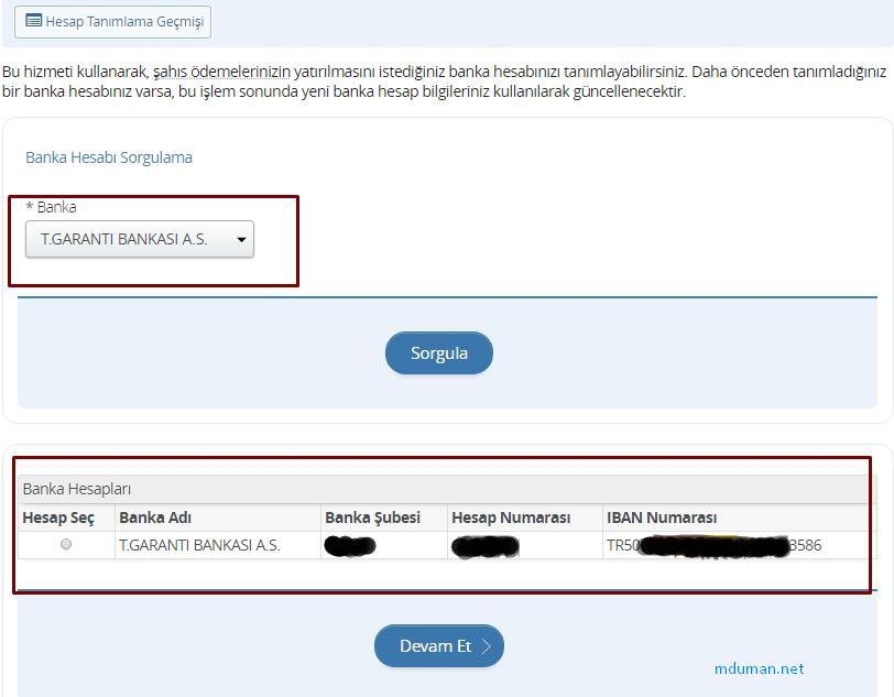 banka hesabı sorgulama
